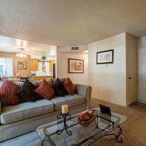 Model unit living room furnished.